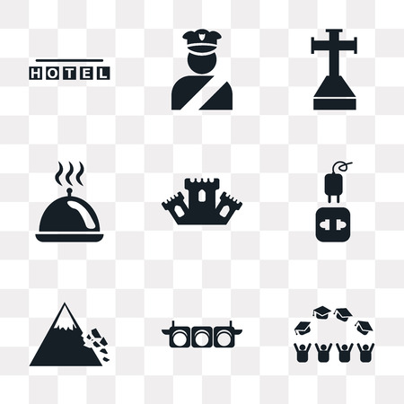 Set Of 9 simple transparency icons such as Graduate cap, Traffic Lights, Mountain Colapse, Charger, Castle, Tray with cover, Cross stuck in ground, Policeman figure, Square hotel, can be used for