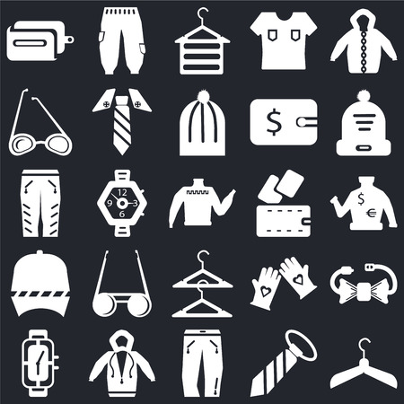 Set Of 25 icons such as Hanger, Tie, Jeans, Hoodie, Watch, Winter hat, Wallet, Baseball cap, Sunglasses, Jeans on black background, web UI editable icon pack
