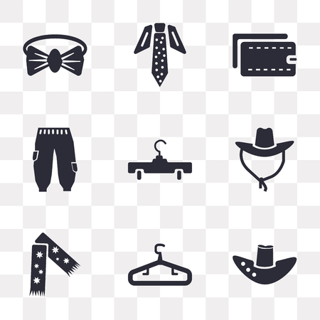 Conjunto de 9 iconos de transparencia simple como sombrero Fedora, percha, bufanda, vaqueros, billetera, corbata, pajarita, se puede utilizar para dispositivos móviles, paquete de iconos de vector perfecto de píxeles sobre fondo transparente