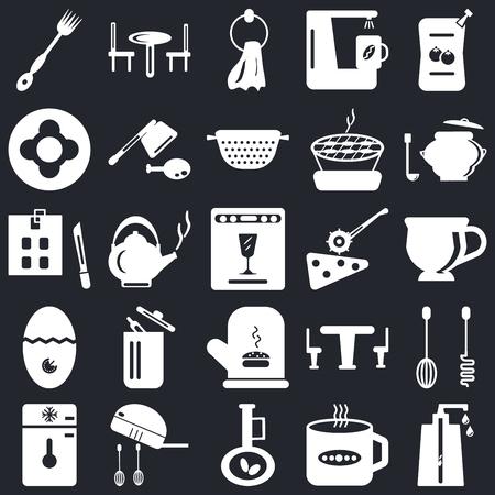 Ensemble de 25 icônes telles que distributeur de savon, tasse à thé, huile d'olive, mélangeur, congélateur, casserole, coupe-pizza, mitaine, minuterie, vaisselle, serviette, table sur fond noir, pack d'icônes modifiables de l'interface utilisateur Web