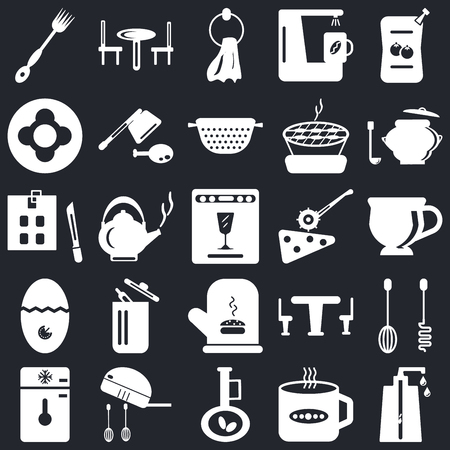 Set Of 25 icons such as Soap dispenser, Tea cup, Olive oil, Mixer, Freezer, Saucepan, Pizza cutter, Mitten, Timer, Dish, Towel, Table on black background, web UI editable icon pack Illustration