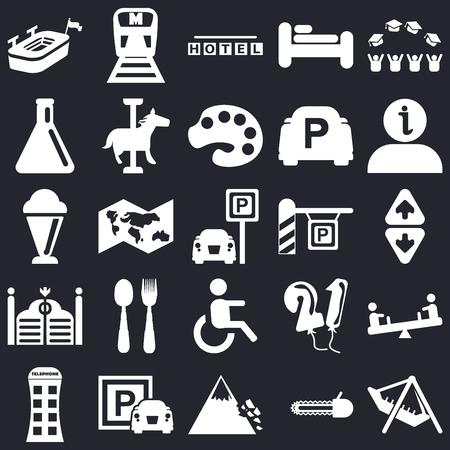 Conjunto de 25 iconos editables sencillos como parque de atracciones, ascensor, información, metro, caja de teléfono, carrusel de caballos, globos, helado sobre fondo negro, paquete de iconos de la interfaz de usuario web Ilustración de vector