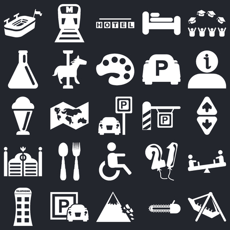 Set Of 25 simple editable icons such as Amusement Park, Elevator, Information, Metro, Phone box, Carousel horse, Balloons, Ice Cream on black background, web UI icon pack