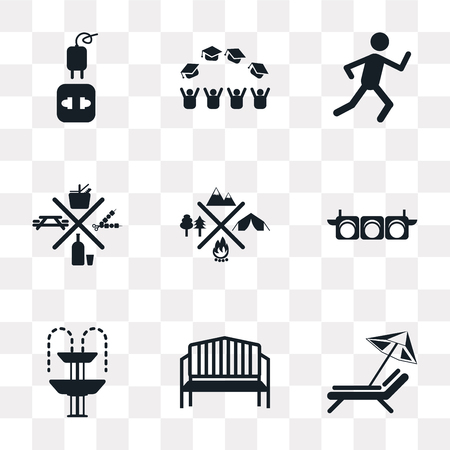 Set Of 9 simple transparency icons such as Sun umbrella, Bench, Fountain, Traffic Lights, Camping, Picnic, Running, Graduate cap, Charger, can be used for mobile, pixel perfect vector icon pack on