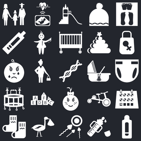 Set Of 25 icons such as Pregnancy test, Feeder, Sperm, Stork, Socks, Bag, Cradle, Baby girl, Walker, Playground, Ultrasound on black background, web UI editable icon pack
