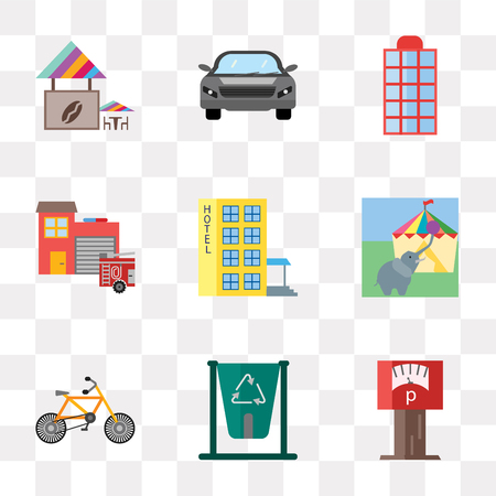 Set Of 9 simple transparency icons such as Parking meter, Recycling bin, Bicycle, Circus, Hotel, Fire station, Phone box, Car, Coffee shop, can be used for mobile, pixel perfect vector icon pack on