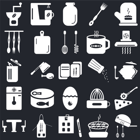 Set Of 25 icons such as Mixer, Barbecue, Kitchen board, Apron, Table, Extractor hood, Salt shaker, Timer, Freezer, Cutlery, Jar, Coffee maker on black background, web UI editable icon pack