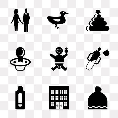 Set di 9 semplici icone di trasparenza come Cappello, Ospedale, Test di gravidanza, Biberon, Bambino, Ciuccio, Anelli, Ducky, Coppia, può essere utilizzato per mobile, pacchetto di icone vettoriali pixel perfetto su trasparente Vettoriali
