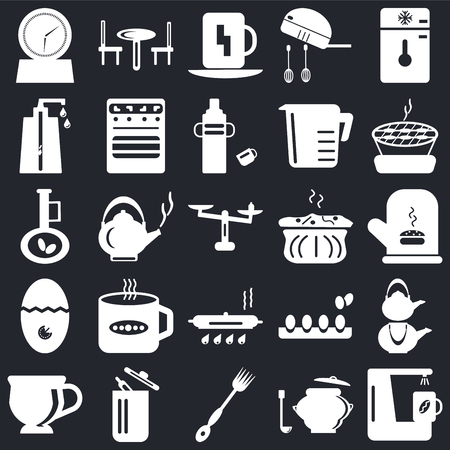Set Of 25 icons such as Coffee maker, Saucepan, Fork, Trash, Tea cup, Barbecue, Molded, Pan, Timer, Soap dispenser, Cup, Table on black background, web UI editable icon pack