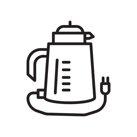 Bollitore icona vettoriale isolato su sfondo bianco, segno trasparente bollitore, simbolo lineare ed elementi di design del tratto di una struttura Vettoriali