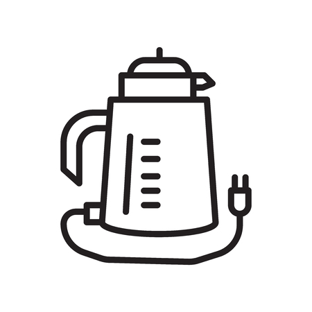 Kettle icon vector isolated on white background, Kettle transparent sign , linear symbol and stroke design elements in outline style Vettoriali