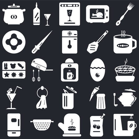 Set Of 25 icons such as Coffee maker, Sauces, Mitten, Strainer, Fridge, Tea cup, Timer, Trash, Cocktail, Dish, Dishwasher, Wine bottle on black background, web UI editable icon pack Ilustração