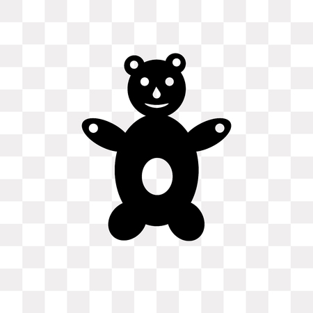 Teddy bear vector icon isolated on transparent background, Teddy bear logo concept