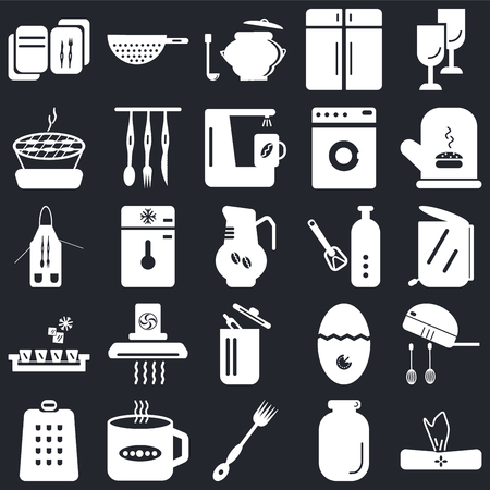 Set Of 25 icons such as Napkin, Jar, Fork, Tea cup, Grater, Mitten, Bottle opener, Trash, Ice cube tray, Barbecue, Saucepan, Strainer on black background, web UI editable icon pack Stock Illustratie