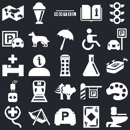 Set Of 25 simple editable icons such as Toilet side view, Big stadium, Parking, Ice Cream, First Aid, Dog, Hospital on black background, web UI icon pack