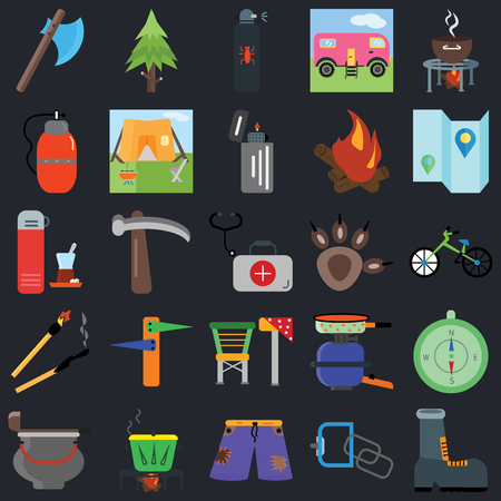 Set Of 25 icons such as Shoe, Carabiner, Shorts, Pot, Cauldron, Map, Pawprint, Camp chair, Match, Canteen, Spray, Spruce on black background, web UI editable icon pack