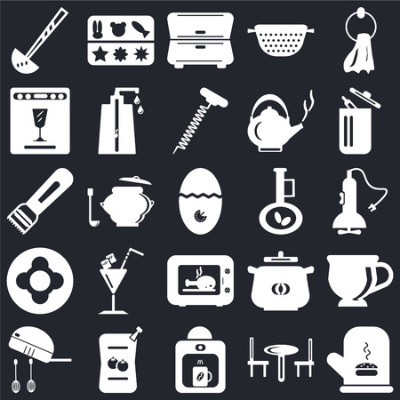 Set Of 25 icons such as Mitten, Table, Coffee maker, Sauces, Mixer, Trash, Olive oil, Microwave, Dish, Dishwasher, Cabinet, Molded on black background, web UI editable icon pack