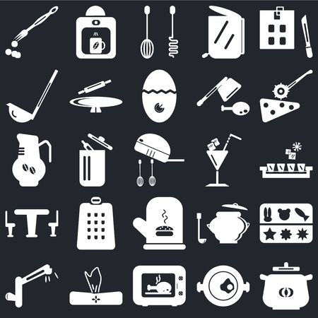 Set Of 25 icons such as Pot, Paella, Microwave, Napkin, Tap, Pizza cutter, Cocktail, Mitten, Table, Scoop, Mixer, Coffee maker on black background, web UI editable icon pack Vectores