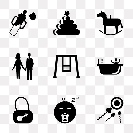Set Of 9 simple transparency icons such as Sperm, Baby boy, Bag, Shower, Swings, Couple, Rocking horse, Rings, bottle, can be used for mobile, pixel perfect vector icon pack on transparent