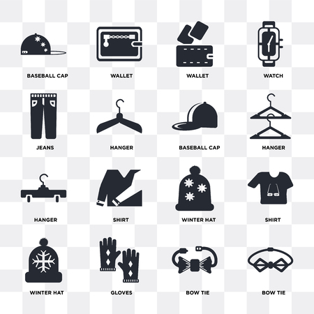 Set Of 16 icons such as Bow tie, Gloves, Winter hat, Shirt, Baseball cap, Jeans, Hanger on transparent background, pixel perfect Illustration