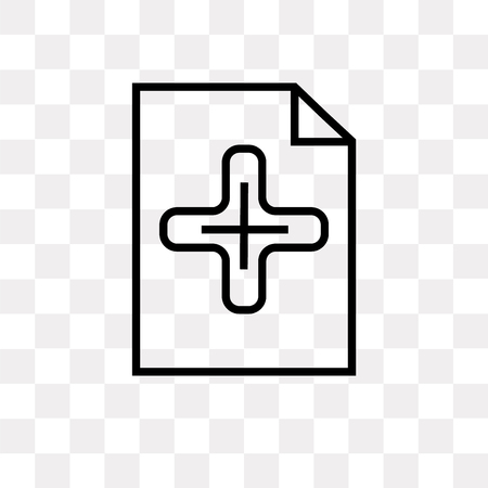 Add new document vector icon isolated on transparent background, Add new document logo concept