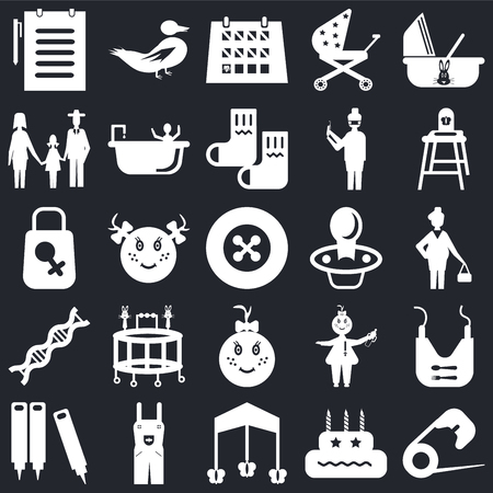 Set Of 25 icons such as Safety pin, Birthday, Mobile, Overall, Crayons, Baby chair, Pacifier, girl, Dna, Family, Calendar, Duck on black background, web UI editable icon pack