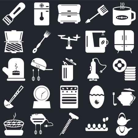 Set Of 25 icons such as Kettle, Eggs, Corkscrew, Mixer, Barbecue, Cabinet, Oven, Ladle, Toaster, Freezer on black background, web UI editable icon pack