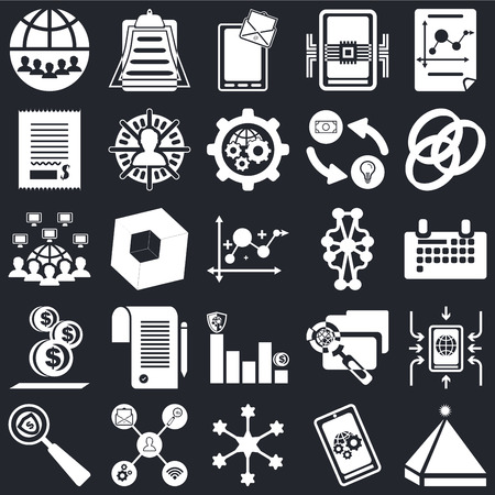Set Of 25 icons such as Pyramid, Smartphone, Diagram, Search, Rgb, Bar chart, Coin, Bill, Chat, Clipboard on black background, web UI editable icon pack Vectores