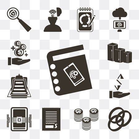 Set Of 13 simple editable icons such as Agenda, Rgb, Coin, Bill, Smartphone, Receive, Clipboard, Bar chart, Growth on transparent background