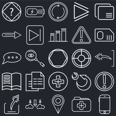 Set Of 25 simple editable icons such as Smartphone, Undo Arrow, Sim card, Battery power, Export Start button, Go back Speech bubble black on background, web UI icon pack Illustration