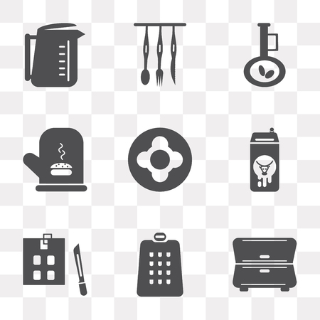 Set Of 9 simple transparency icons such as Cabinet, Grater, Kitchen board, Milk, Dish, Mitten, Olive oil, Cutlery, Kettle, can be used for mobile, pixel perfect vector icon pack on transparent