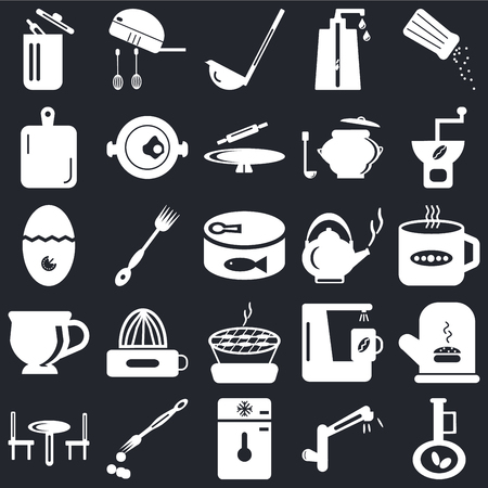 Set Of 25 icons such as Olive oil, Tap, Freezer, Brush, Table, Coffee grinder, Kettle, Barbecue, Tea cup, Kitchen board, Scoop, Mixer on black background, web UI editable icon pack