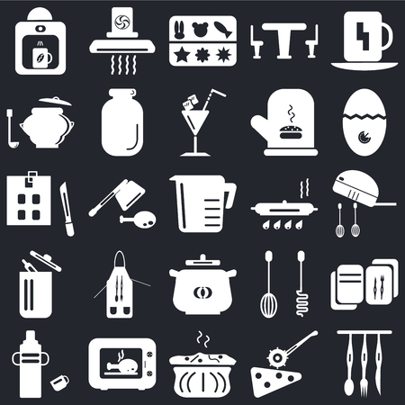 Set Of 25 icons such as Cutlery, Pizza cutter, Molded, Microwave, Thermos, Timer, Pan, Pot, Trash, Saucepan, Extractor hood on black background, web UI editable icon pack Vectores