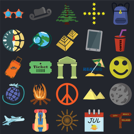 Set Of 25 icons such as Pointer, Calendar, Helm, Backpack, Airplane, Drink, Resort, Peace, Travel, Compass, Pine, Hat on black background, web UI editable icon pack