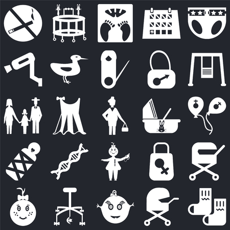 Set Of 25 icons such as Socks, Baby carriage, Baby, Crib toy, girl, Swings, Cradle, Surveillance, Scale, Walker on black background, web UI editable icon pack Vectores