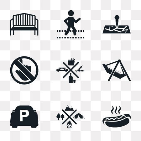 Set Of 9 simple transparency icons such as Hot Dog, Camping, Parking, Amusement Park, Picnic, No Push, Map, Crossing, Bench, can be used for mobile, pixel perfect vector icon pack on transparent