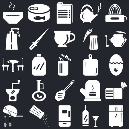 Set Of 25 simple editable icons such as Fridge, Timer, Saucepan, Conserve, Mixer, Knife, Mitten, Table on black background, web UI icon pack