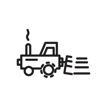 Icona del trattore vettoriale isolato su sfondo bianco, segno trasparente del trattore, simbolo lineare ed elementi di design del tratto di una struttura