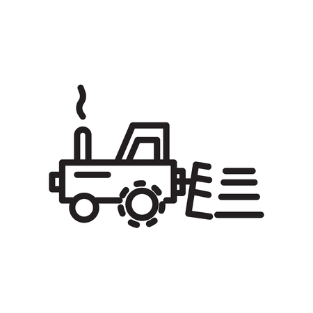 Vector icono de tractor aislado sobre fondo blanco, signo transparente de tractor, símbolo lineal y elementos de diseño de movimiento en el estilo de contorno