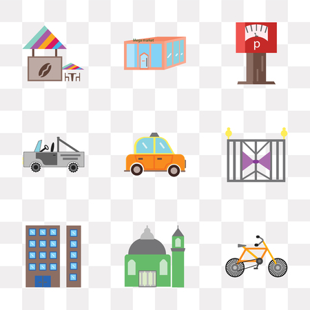 Set Of 9 simple transparency icons such as Bicycle, Mosque, Appartment, Gate, Taxi, Car, Parking meter, Store, Coffee shop, can be used for mobile, pixel perfect vector icon pack on transparent