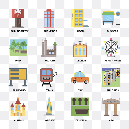 Set Of 16 icons such as Arch, Cemetery, Obelisk, Church, Buildings, Parking meter, Park, Billboard on transparent background, pixel perfect