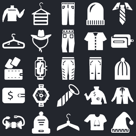 Set Of 25 icons such as Winter hat, Shirt, Hanger, Bow tie, Wallet, Jean, Tie, Jeans, Hanger on black background, web UI editable icon pack