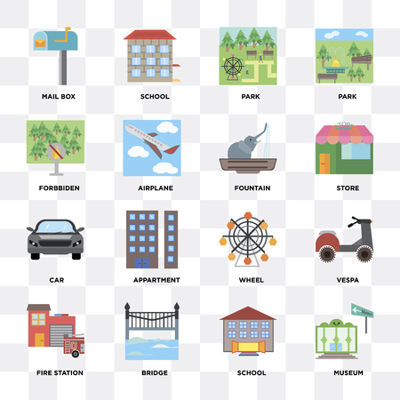 Set Of 16 icons such as Museum, School, Bridge, Fire station, Mail box, Forbidden, Car, Fountain on transparent background, pixel perfect