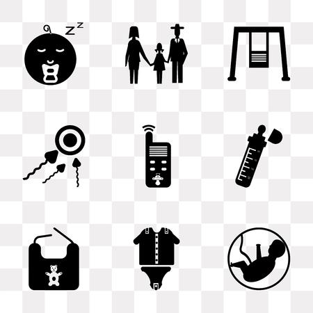Conjunto de 9 iconos de transparencia simple como feto, ropa de bebé, babero, biberón, monitor, esperma, columpios, familia, niño, se puede utilizar para dispositivos móviles, paquete de iconos de vector perfecto de píxeles en transparente