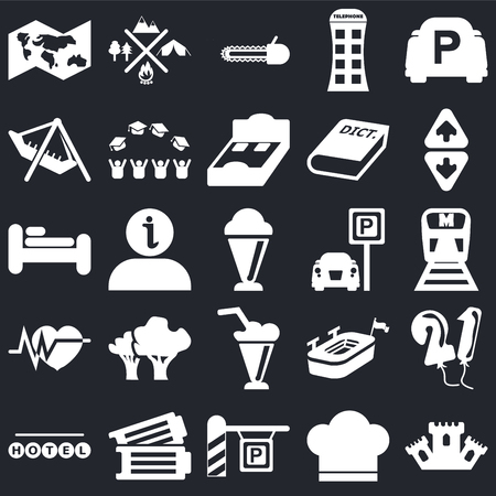 Set Of 25 simple editable icons such as Castle, Metro, Elevator, Camping, Round hotel, Graduate cap, Big stadium, Bed on black background, web UI icon pack