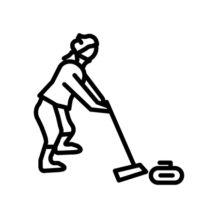 Curling icon vector isolated on white background, Curling transparent sign , linear symbol and stroke design elements in outline style Vektorové ilustrace