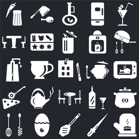 Conjunto de 25 iconos como manopla, cuchillo, paleta, temporizador, batidora, cacerola, mesa, cortador de pizza, aceite de oliva, cuchilla sobre fondo negro, paquete de iconos editables de la interfaz de usuario web