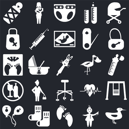 Set Of 25 icons such as Ducky, Baby, Feet, Socks, Balloons, Bag, Stork, Crib toy, No alcohol, Diaper, Breastfeeding on black background, web UI editable icon pack
