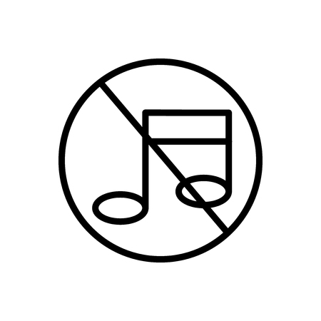 No music icon vector isolated on white background, No music transparent sign Vectores