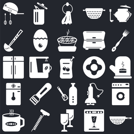 Set Of 25 icons such as Strainer, Dishwasher, Glass, Corkscrew, Tea cup, Fork, Dish, Bottle opener, Freezer, Ladle, Towel, Trash on black background, web UI editable icon pack Иллюстрация